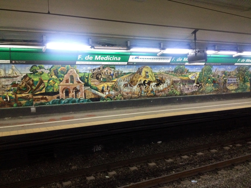 Subway at Buenos Aires, subways here have intricate designs with history in Spanish