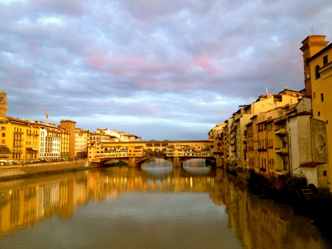 Ponte Vicchio, the sunset makes the colour more vibrant.