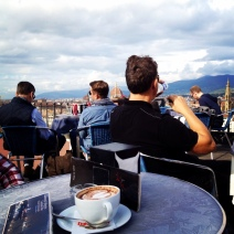 Piazzale Michelangelo, chillin with a cup of capocchino on top of the hill (Piazzale Michelangelo) with a view of Florence