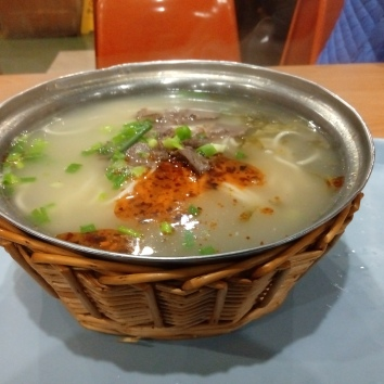 this bowl of soup noodles is just 5 RMB, a little over 1 CDN!